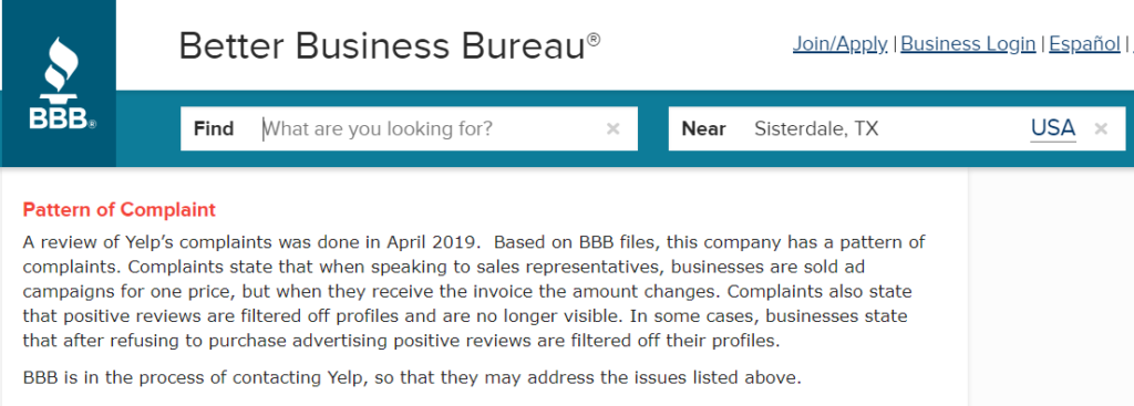 BBB Review on Yelp